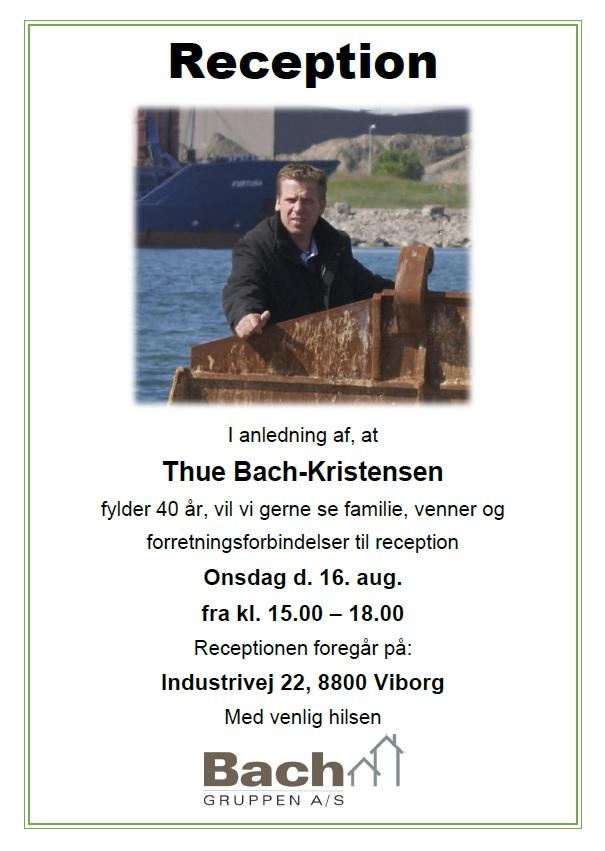 f3687639 Reception - Thue Bach-Kristensen fylder 40 år